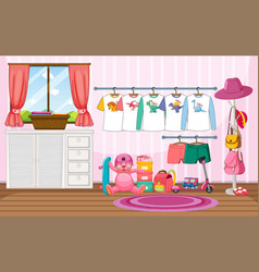 children clothes on a clothesline with many toys vector image