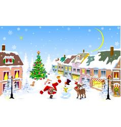 city santa deer snowman christmas night vector image