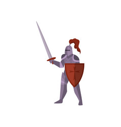 Close-up of knight stands in violet armor raises vector