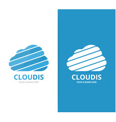 cloud logo combination loading and vector image vector image