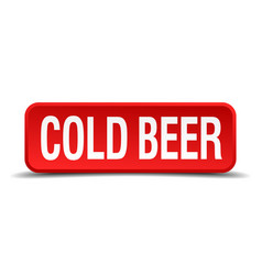 Cold beer red three-dimensional square button vector