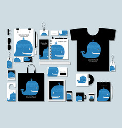 corporate flat mock-up template blue whale vector image