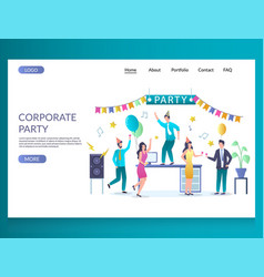corporate party website landing page design vector image