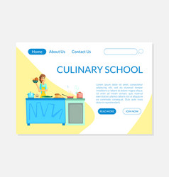 culinary school banner landing page template vector image