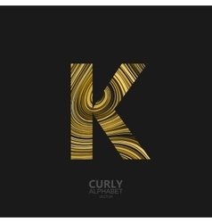 Curly textured Letter K vector