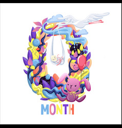 Cute months sticker with animals for baby baby vector