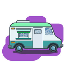 cute retro food truck in flat cartoon vector image