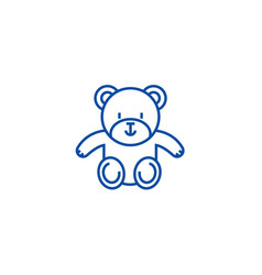 cute teddy bear line icon concept cute teddy bear vector image