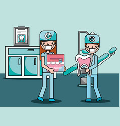 dentist boy and girl prevention oral hygiene in vector image