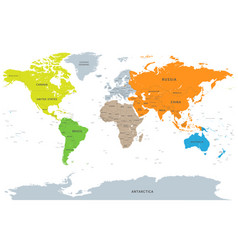 Detailed continent world map vector