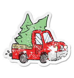 Distressed sticker of a cartoon pickup truck vector