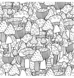 Doodle mushrooms seamless pattern fantasy forest vector