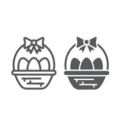 easter eggs in basket line and glyph icon vector image