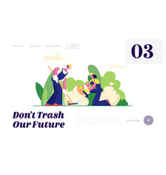Ecology protection volunteer people garbage vector