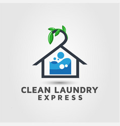 Express dry cleaners logo design template vector