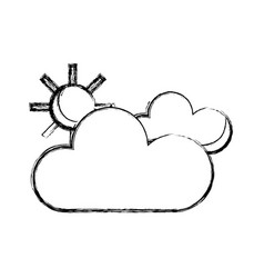 Figure beauty weather of clouds with sun vector