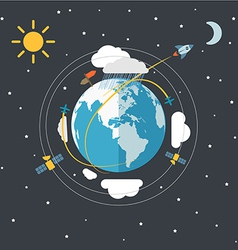 Flat design earth in space vector