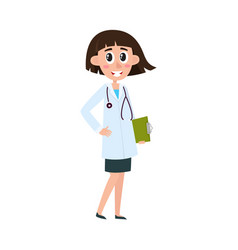 Flat woman doctor in medical clothing vector