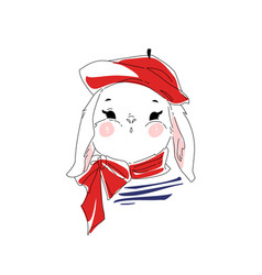 french styled rabbit wearing beret striped vector image