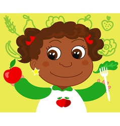 Girl with healthy food vector image