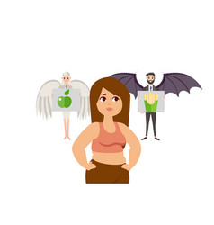 good bad decision in people form with angel and vector image