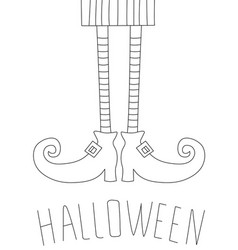 Halloween card design with witch legs antistress vector