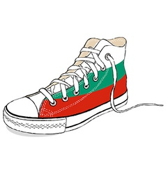 hand draw modern sport shoes with Bulgaria flag vector image