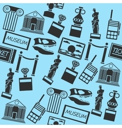 Hand drawn museum pattern vector image