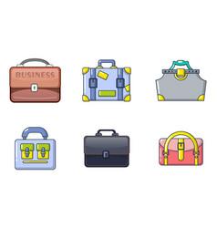 Handbag icon set cartoon style vector