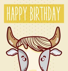 Happy birthday card with animal cartoon vector