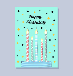 happy birthday postcard with cake and candles vector image