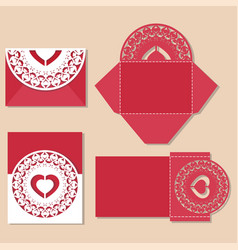 Heart with love inscription laser cut invitation vector