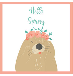 hello spring card with otter vector image