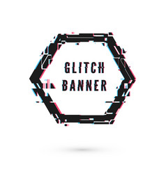 Hexagon banner with distortion effect - glitch vector
