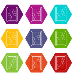 honeycomb on wood icons set 9 vector image