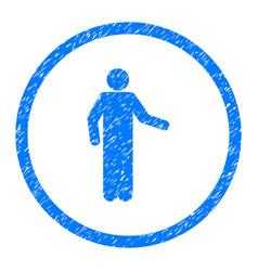 Invitation person pose rounded grainy icon vector