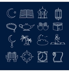 Islam icons set outline vector image