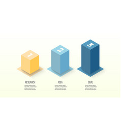 isometric infographics bar chart graph with 3 vector image