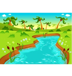 Jungle with pond vector image