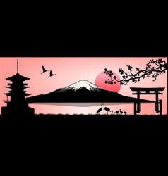 Landscape mount fuji vector