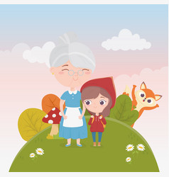 Little red riding hood with grandma and wolf vector