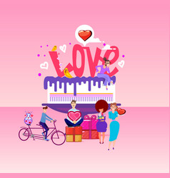 love inscription on a big cake and tiny people vector image
