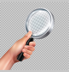Magnifying glass hand realistic vector