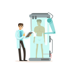 Male scientist and robotic arm working with man in vector
