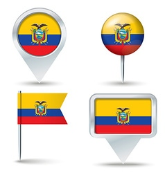 Map pins with flag of Ecuador vector image