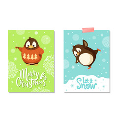 merry christmas card penguin in sweater on skates vector image