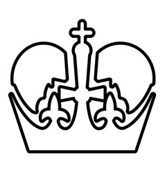 Monarch crown icon outline line style vector