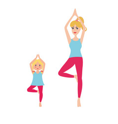 mother and daughter doing yoga vector image