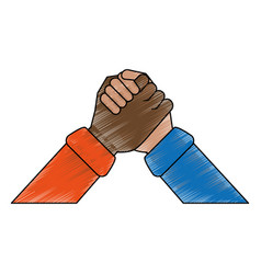 Multiracial hands holding symbol vector