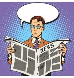 Newspaper news surprise reader vector